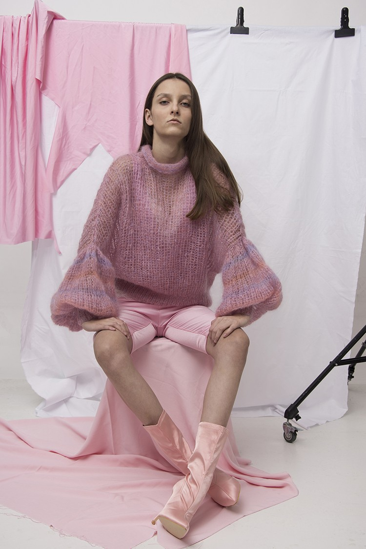Pink alpaca blend longsleeve jumper and pink biker shorts in new Pink Story Laura's Skowron collection