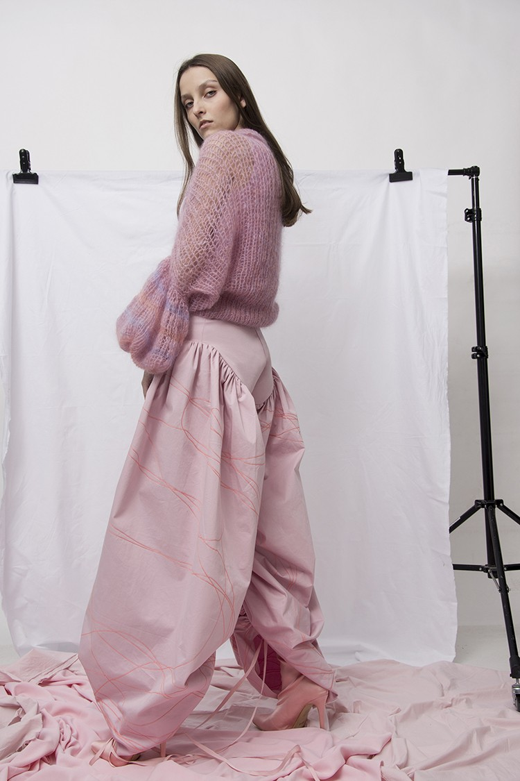 Pink alpaca blend longsleeve jumper and pink cotton Pants in new Pink Story Laura's Skowron collection